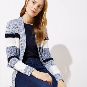 New LOFT Marled Stripe Ribbed Trim Open Cardigan
